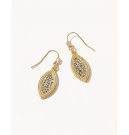 Spartina 449 Petite Pave Petal Earrings Crystal - Gold