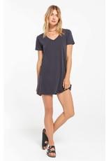 Z Supply Washed Black Organic Cotton T-Shirt Dress