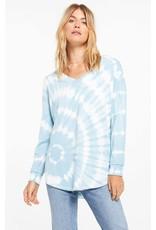 Z Supply V-Neck Spiral Tie Dye Weekender - Blue Agave