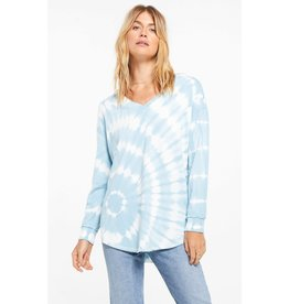 Z Supply V-Neck Spiral Tie Dye Weekender - Blue Agave