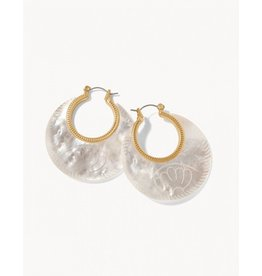 Spartina 449 Petal Carved Hoop Earrings - Mother Of Pearl