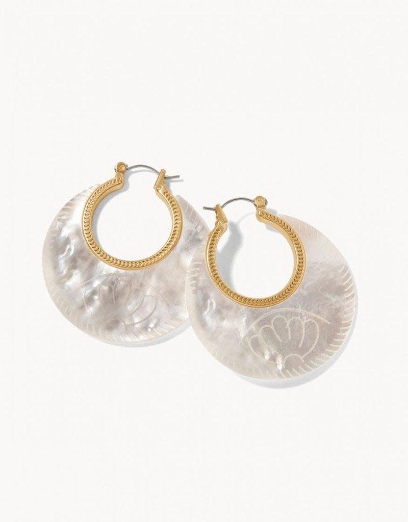 Spartina 449 Petal Carved Hoop Earrings - Mother Of Pearl
