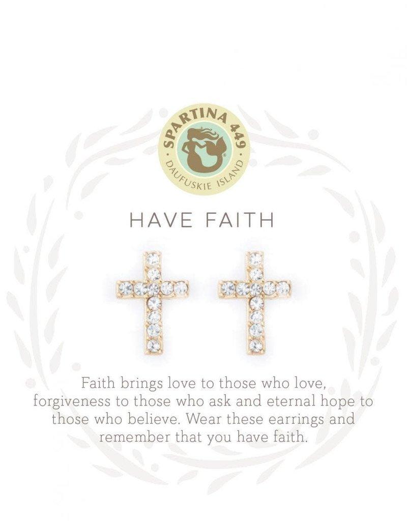 Spartina 449 Sea La Vie Have Faith Stud Earrings - Gold