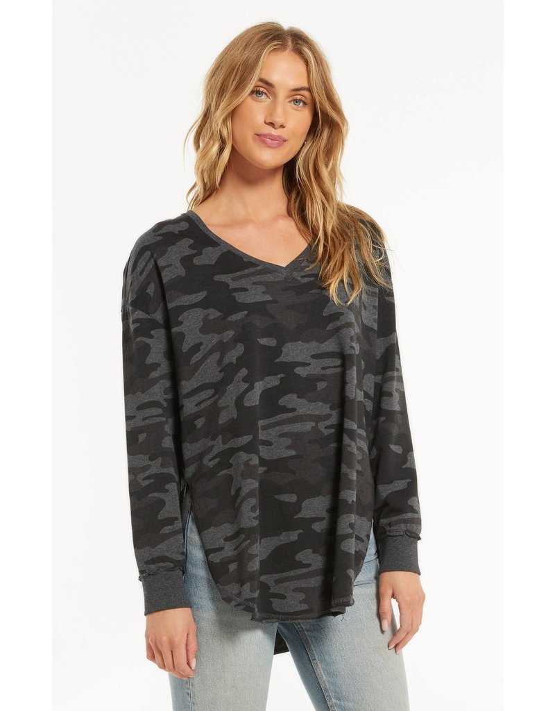 Z Supply Dusty Camo V-Neck Weekender - Deep Charcoal