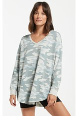 Z Supply Dusty Camo V-Neck Weekender - Sage