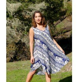 Zig Zag Asian Collection Elephant Dress - Blue