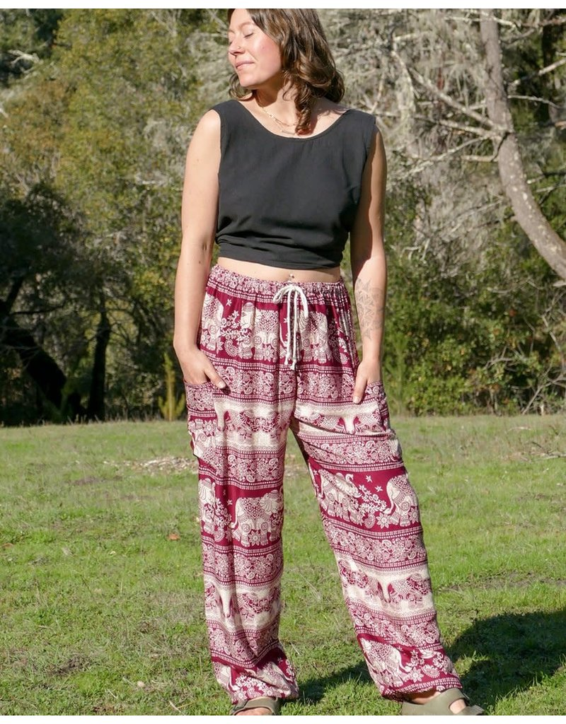 Zig Zag Asian Collection Elephant Pants - Red