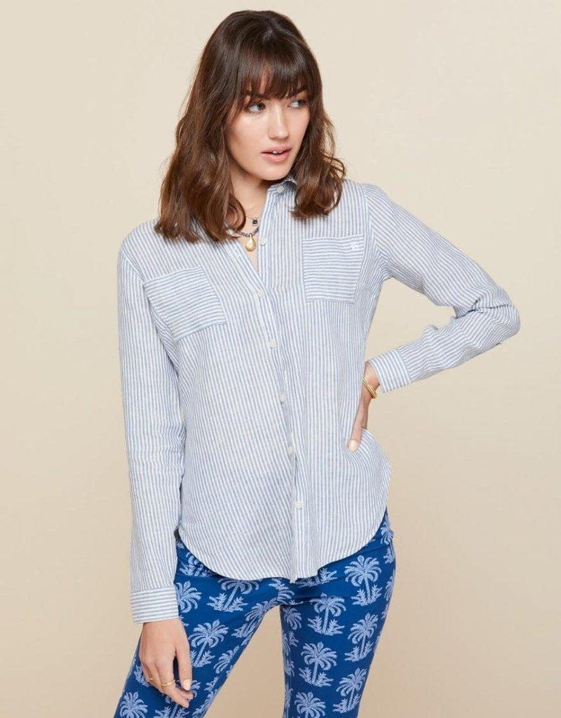 Spartina 449 Callie Linen Shirt - Carolina Blue Stripe