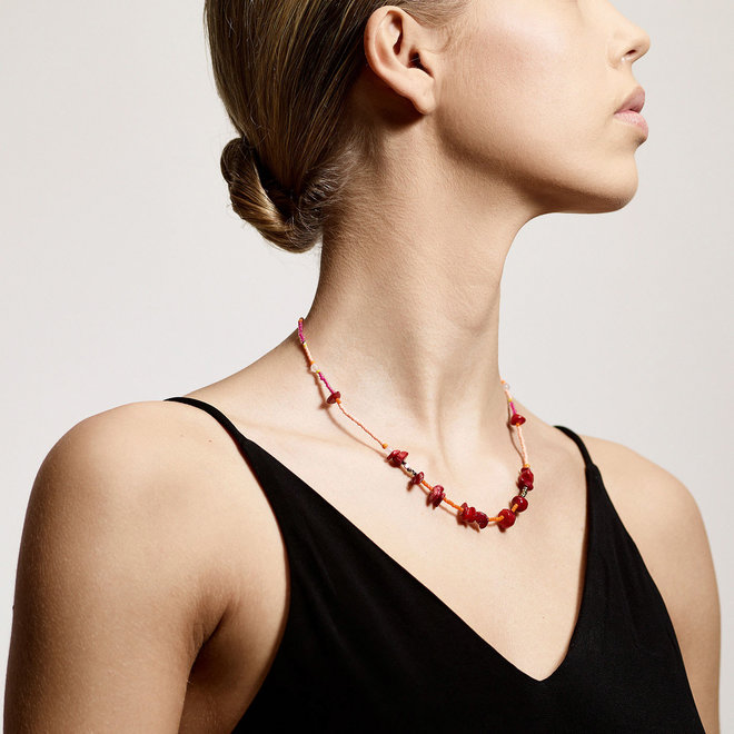 Pilgrim Joy Red Agate Stone Necklace