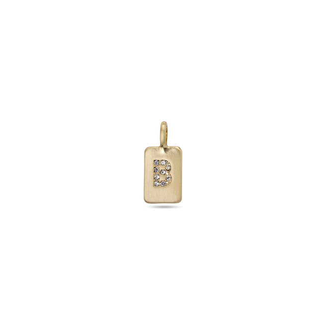 Pilgrim Pendant Crystal Tag Letter Gold plated