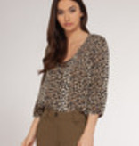 Dex Dex Leopard Print 3/4 Sleeve Top
