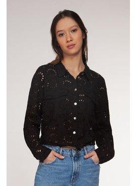 Dex Tie Front All Over Crochet Shirt - Blk