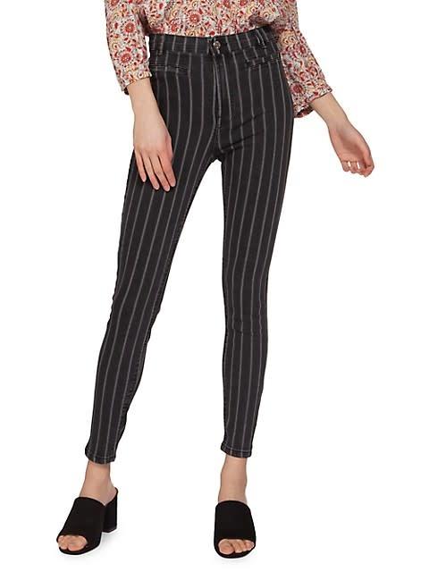 Dex Black Stripe High Rise Skinny Jean