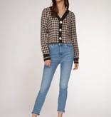 Dex L/S Tweed Top - Beige/Blk Check