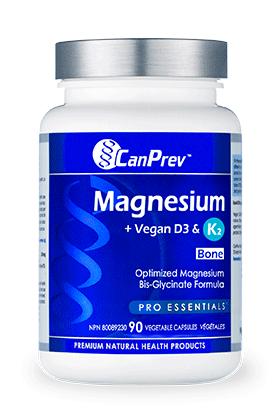 CanPrev Magnesium + Vegan D3 & K2 for Bones - 90 Vcaps