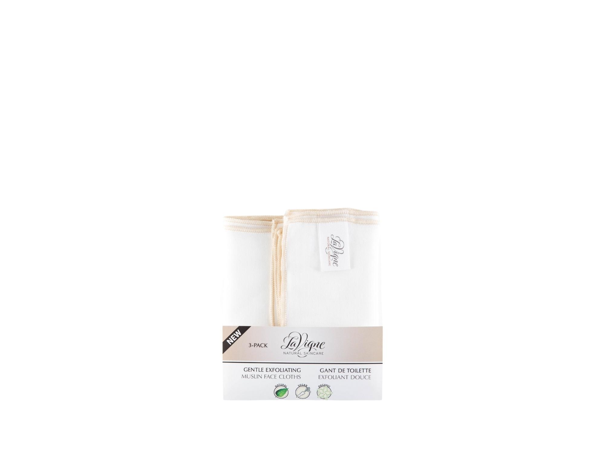 Lavigne Organics Gentle Exfoliating Muslin Face Cloth - pk/3