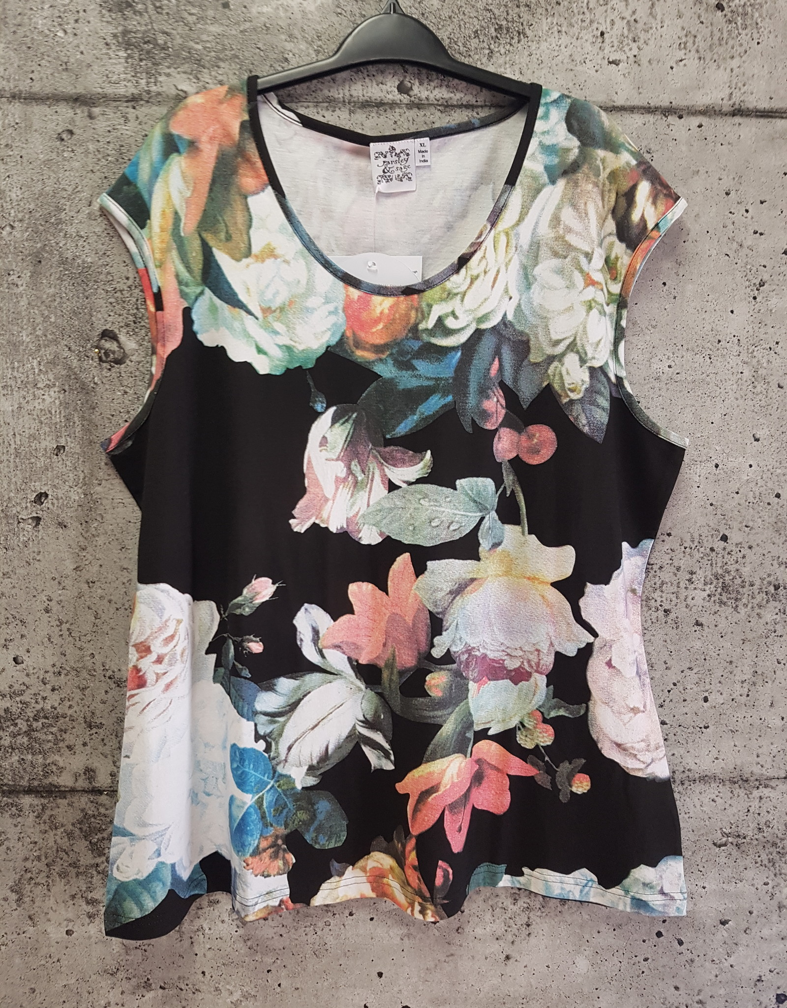 Parsley and Sage BLACK FLORAL TANK 20T90A2