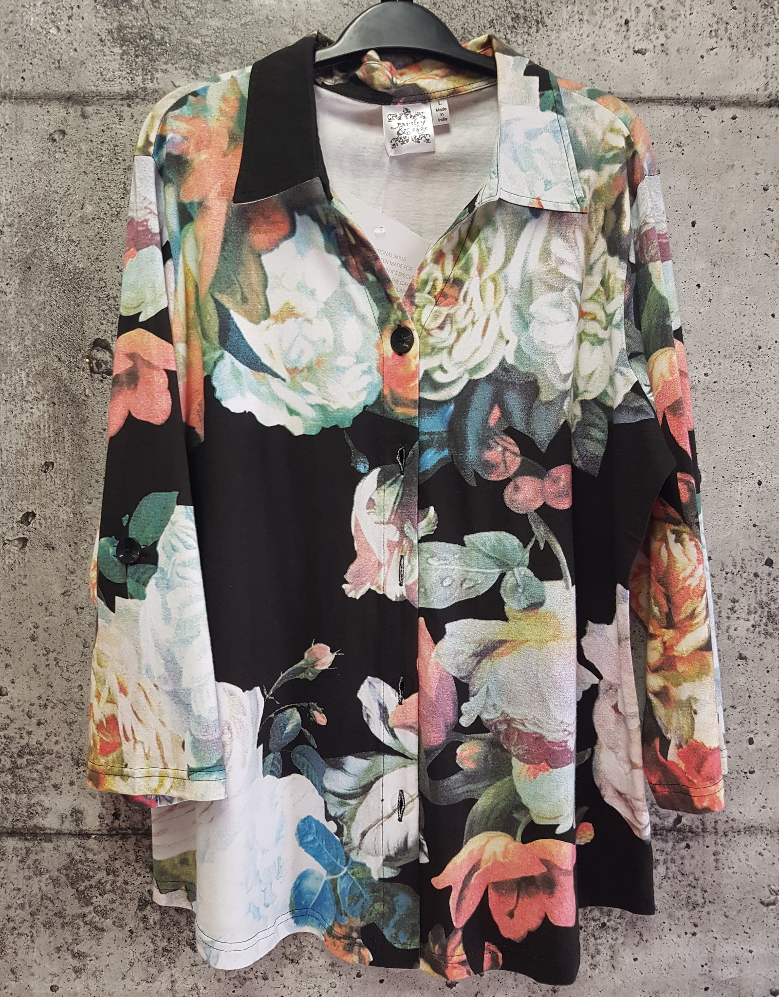 Parsley and Sage BLACK FLORAL SHIRT 20T90G