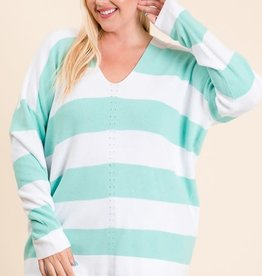 MISCELLANEOUS BOLD STRIPE V NECK