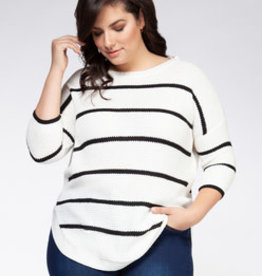 DEX WHITE/BLACK ROUND HEM SWEATER 0677008