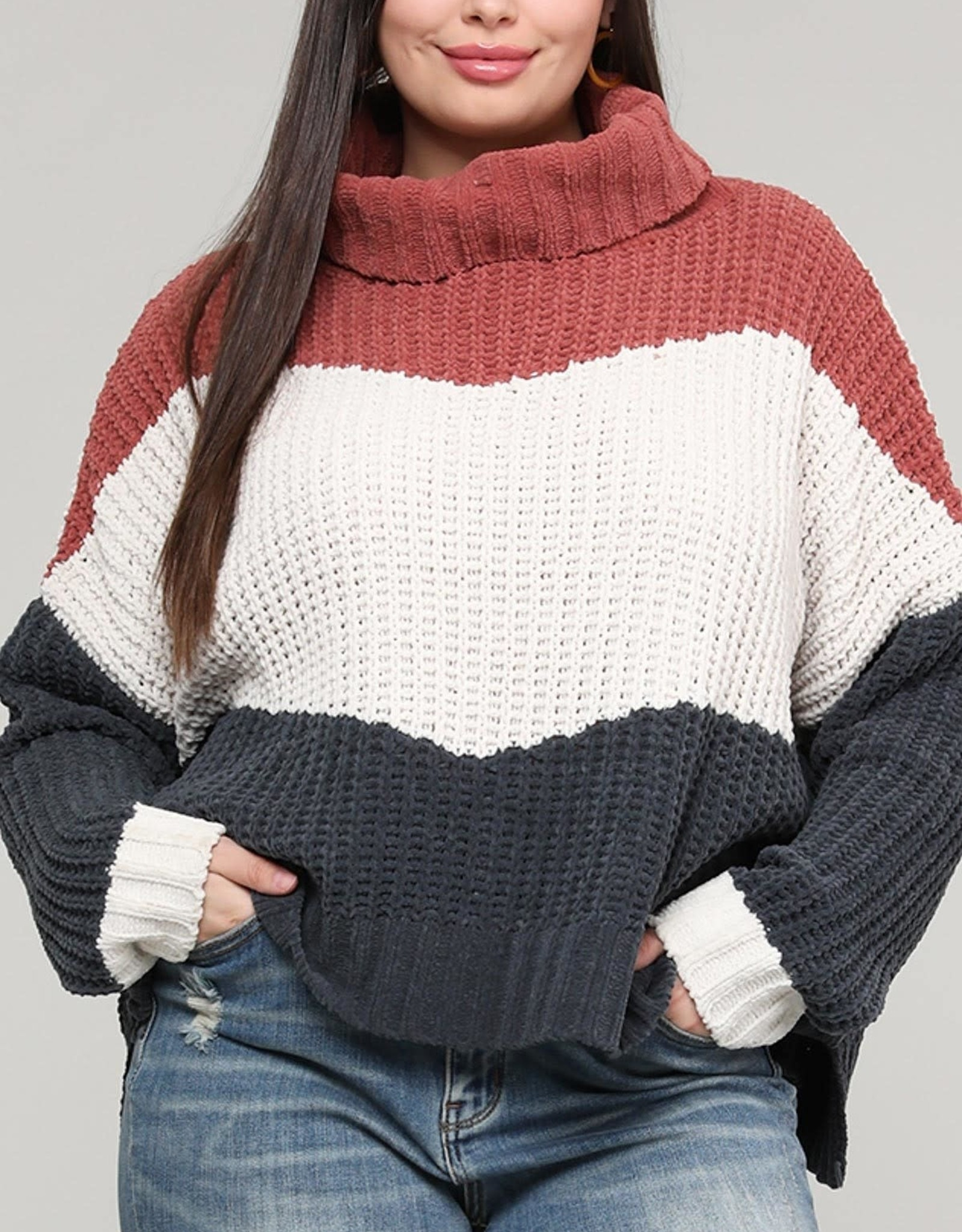 MISCELLANEOUS COLOR BLOCK SWEATER