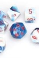 Chessex Astral Blue-White/red Gemini Poly 7 dice set