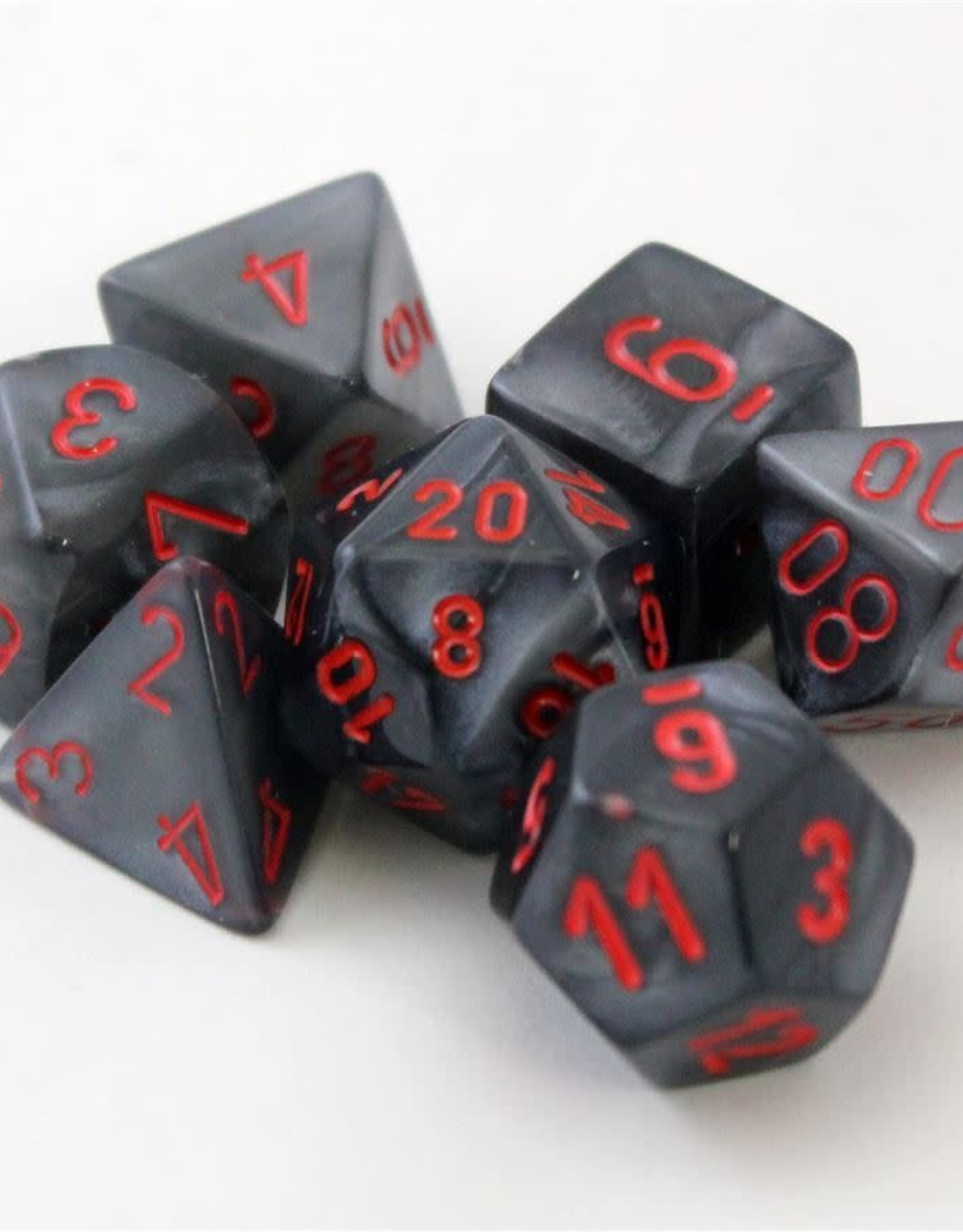 Chessex Black w/red Velvet Poly 7 dice set