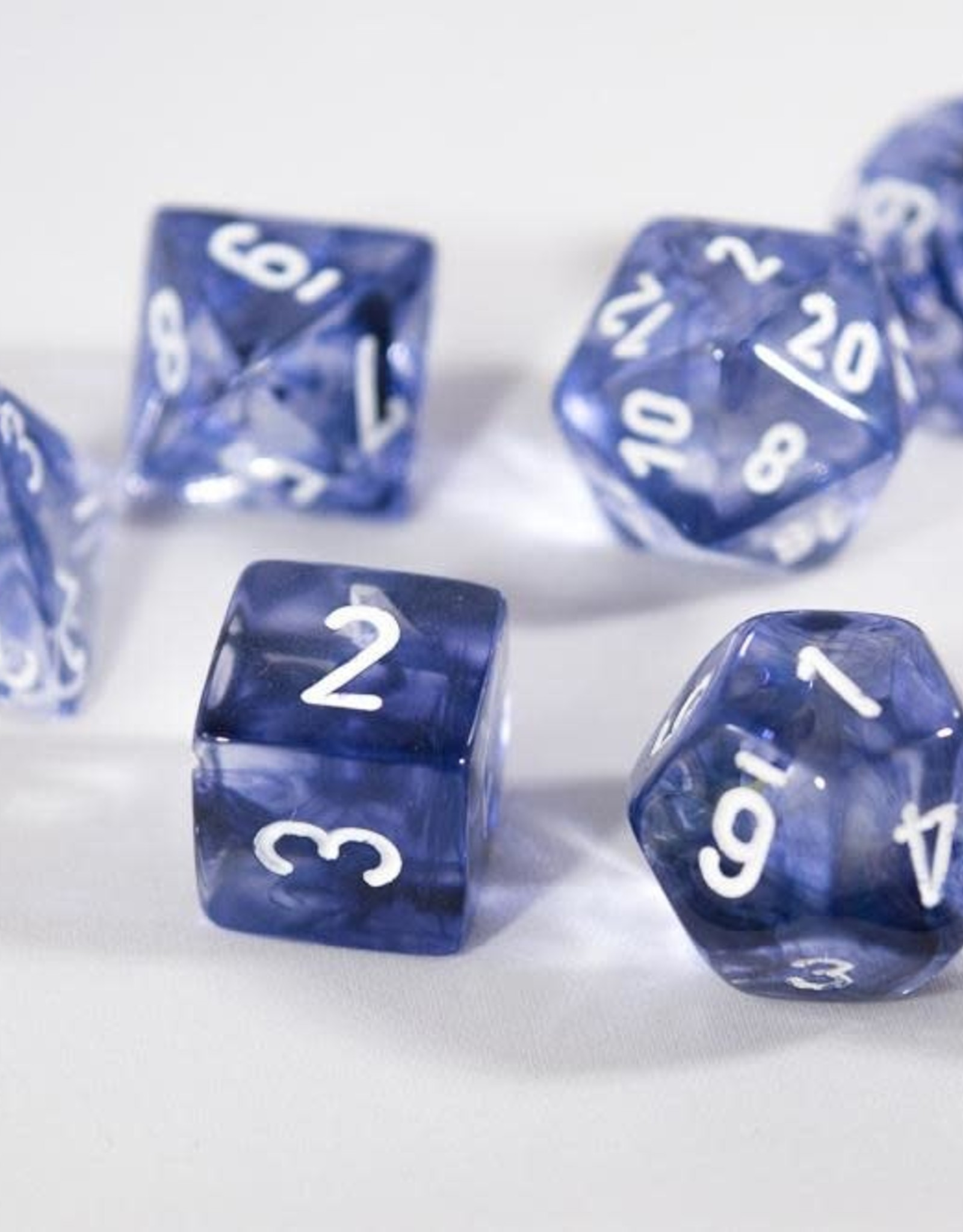 Chessex Black w/white Nebula Poly 7 dice set