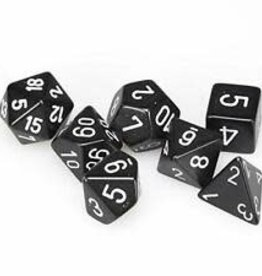 Chessex Black w/white Opaque Poly 7 dice set