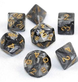 Chessex Black w/gold Lustrous Poly 7 dice set