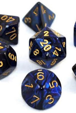 Chessex Black-Blue w/gold Gemini Poly 7 dice set