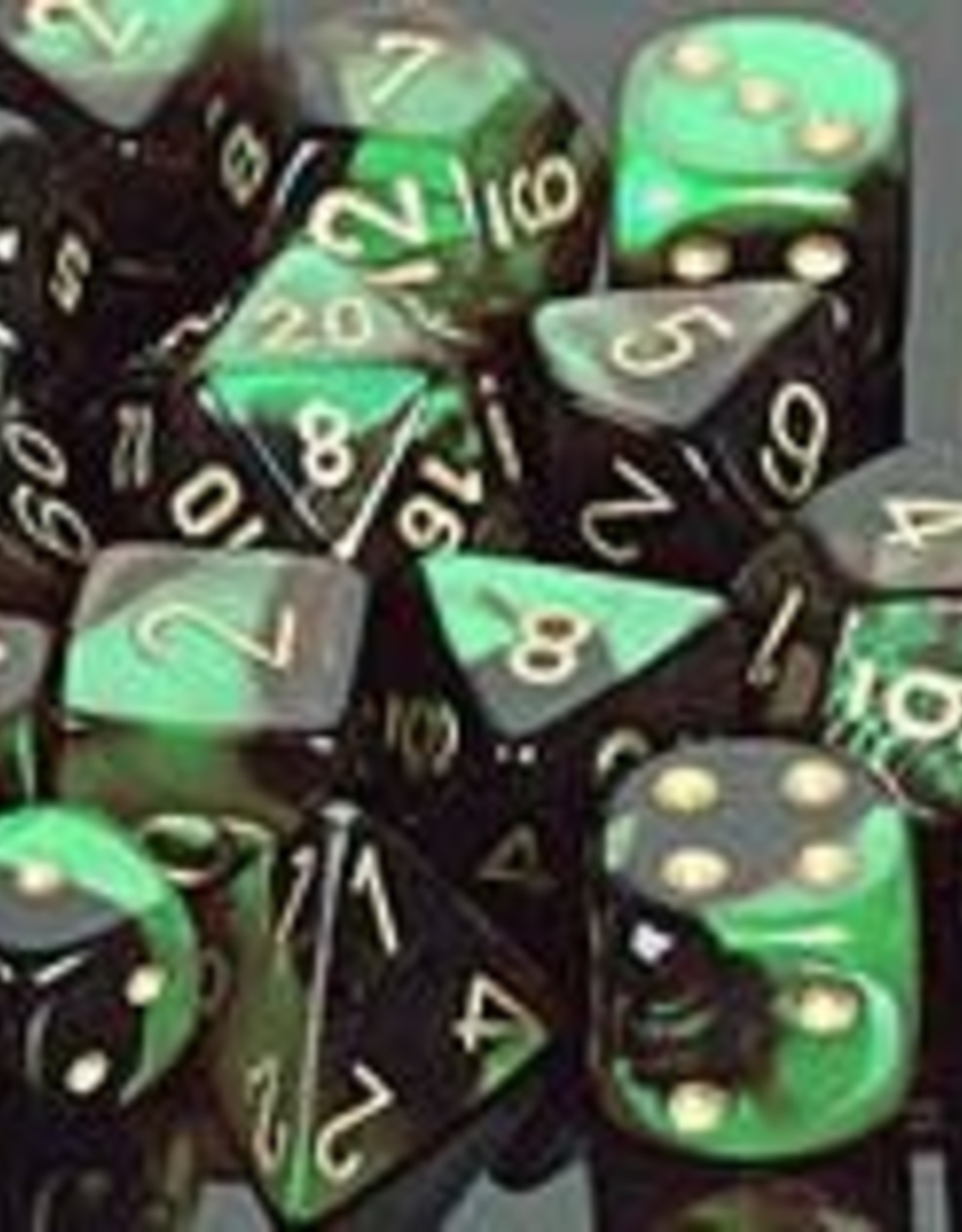 Chessex Black-Green/gold Gemini Poly 7 dice set