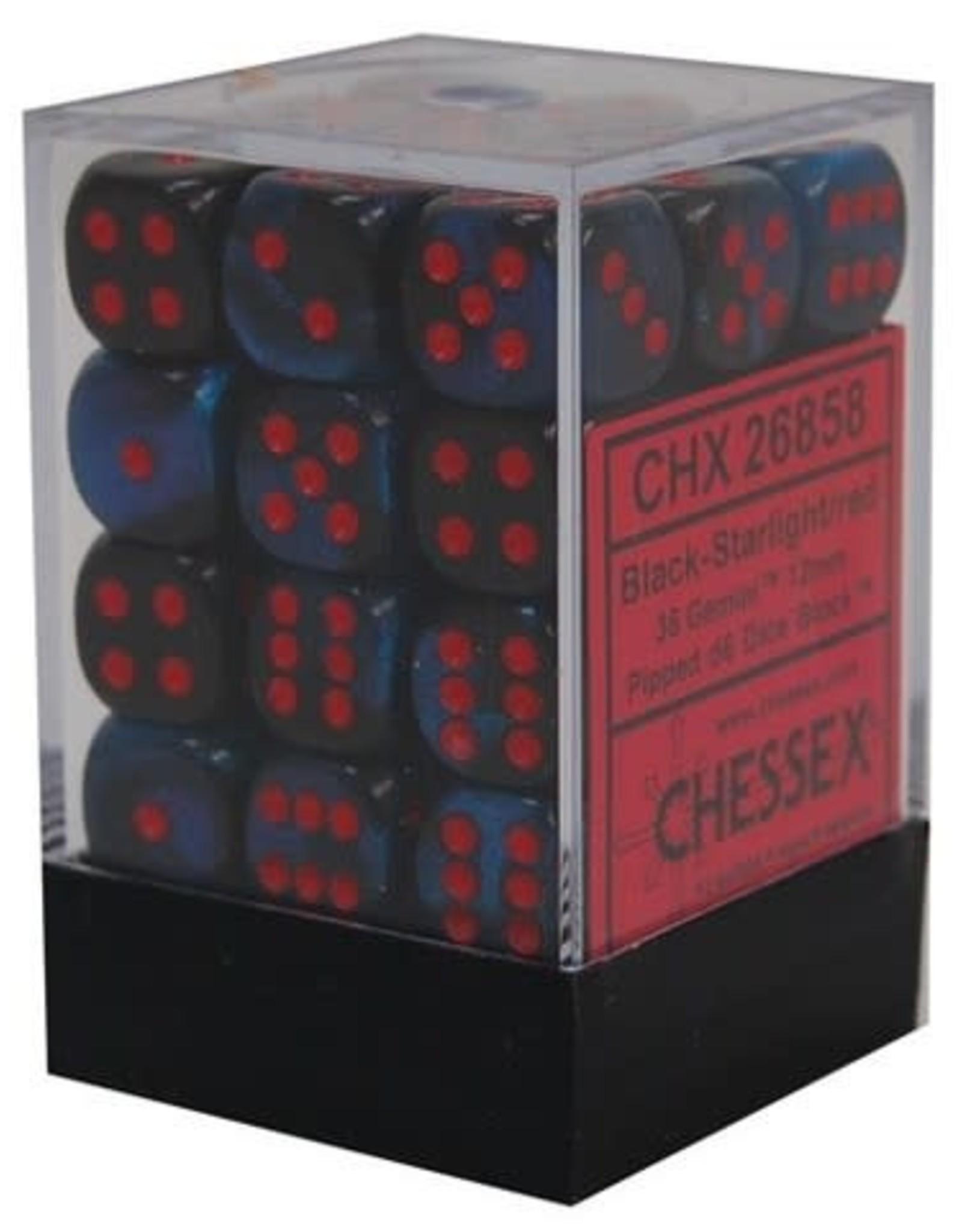 Chessex Black-Starlight/red Gemini 12mm d6 dice set