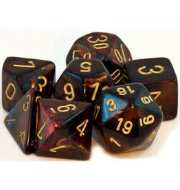 Chessex Blue Blood /gold Scarab Poly 7 dice set