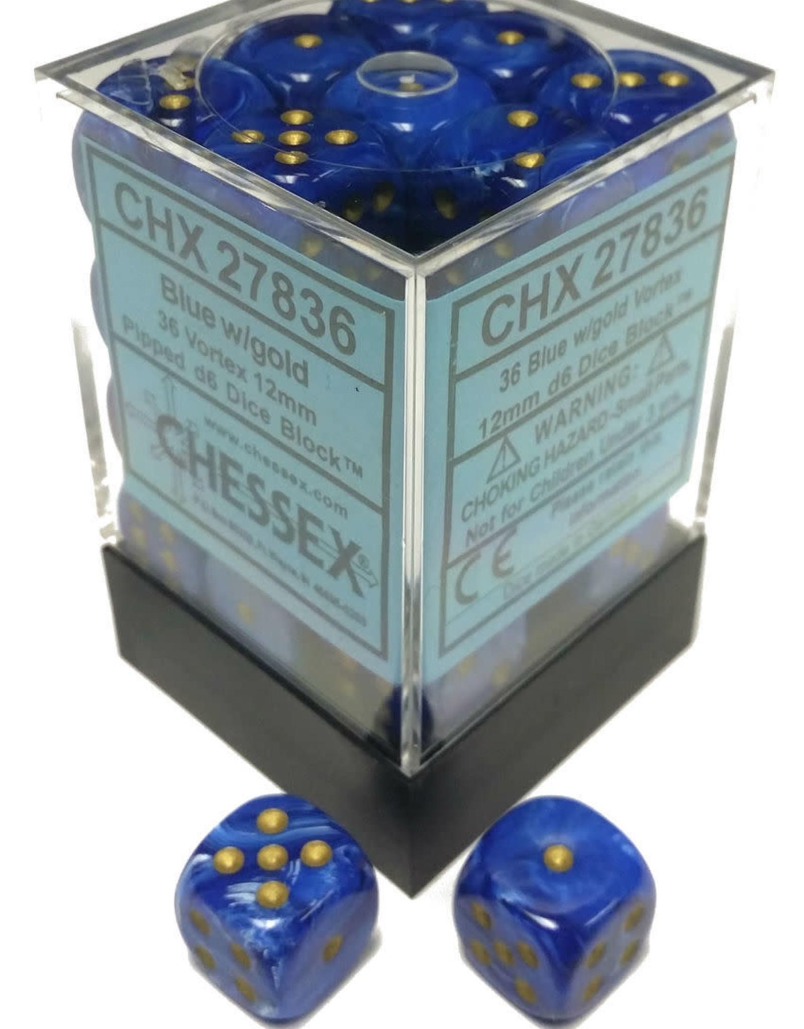 Chessex Blue w/gold Vortex 12mm d6 dice set
