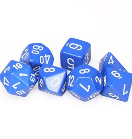 Chessex Blue w/white Opaque Poly 7 dice set
