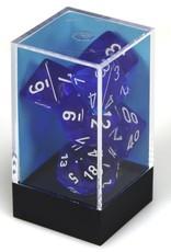 Chessex Blue w/white Translucent Poly 7 dice set