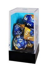 Chessex Blue-Gold/ white Gemini Poly 7 dice set