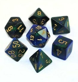 Chessex Blue-Green/gold Gemini Poly 7 dice set