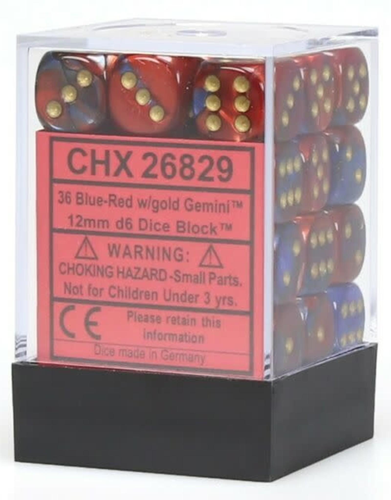 Chessex Blue-Red w/gold Gemini 12mm d6 dice set