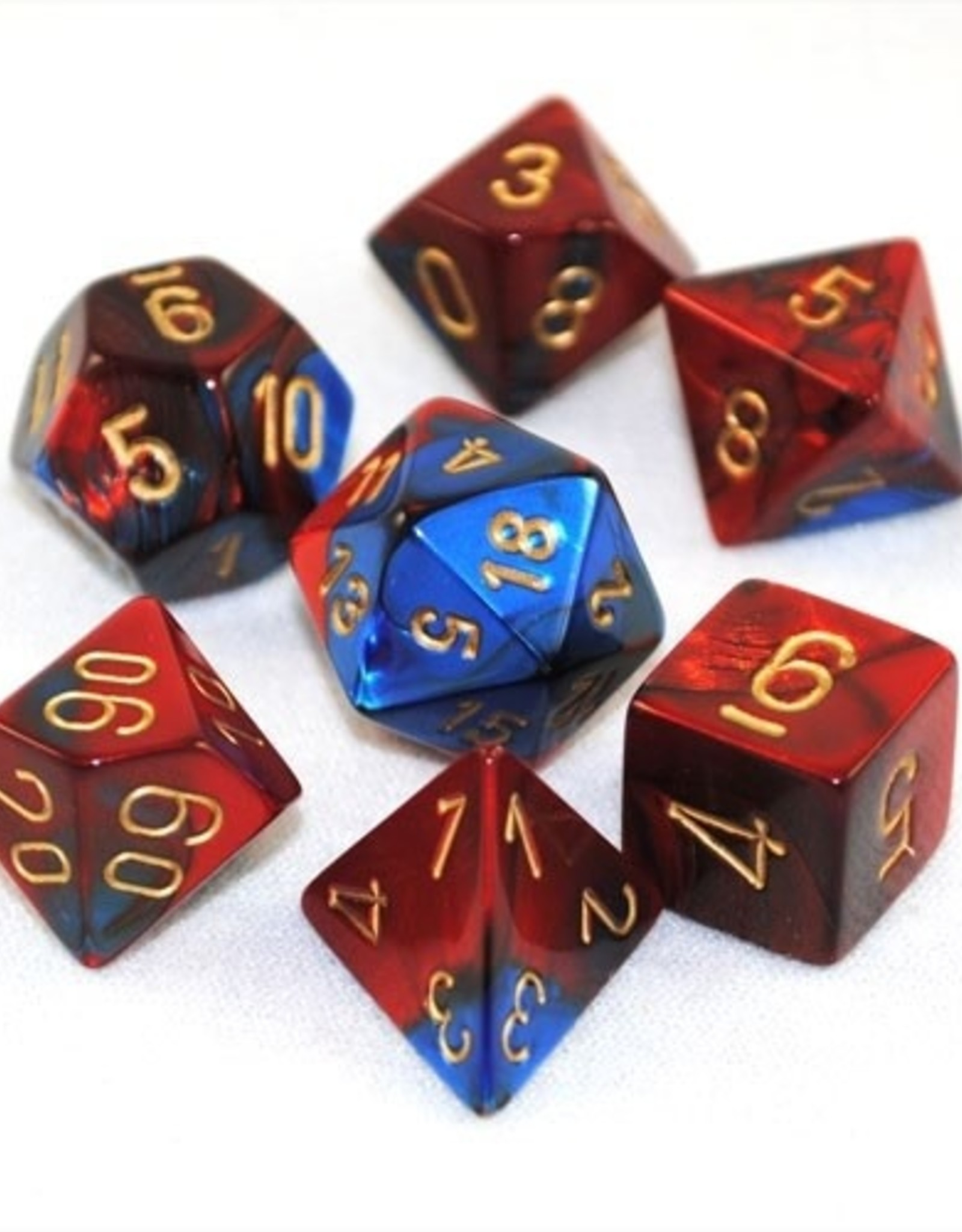 Chessex Blue-Red w/gold Gemini Poly 7 dice set