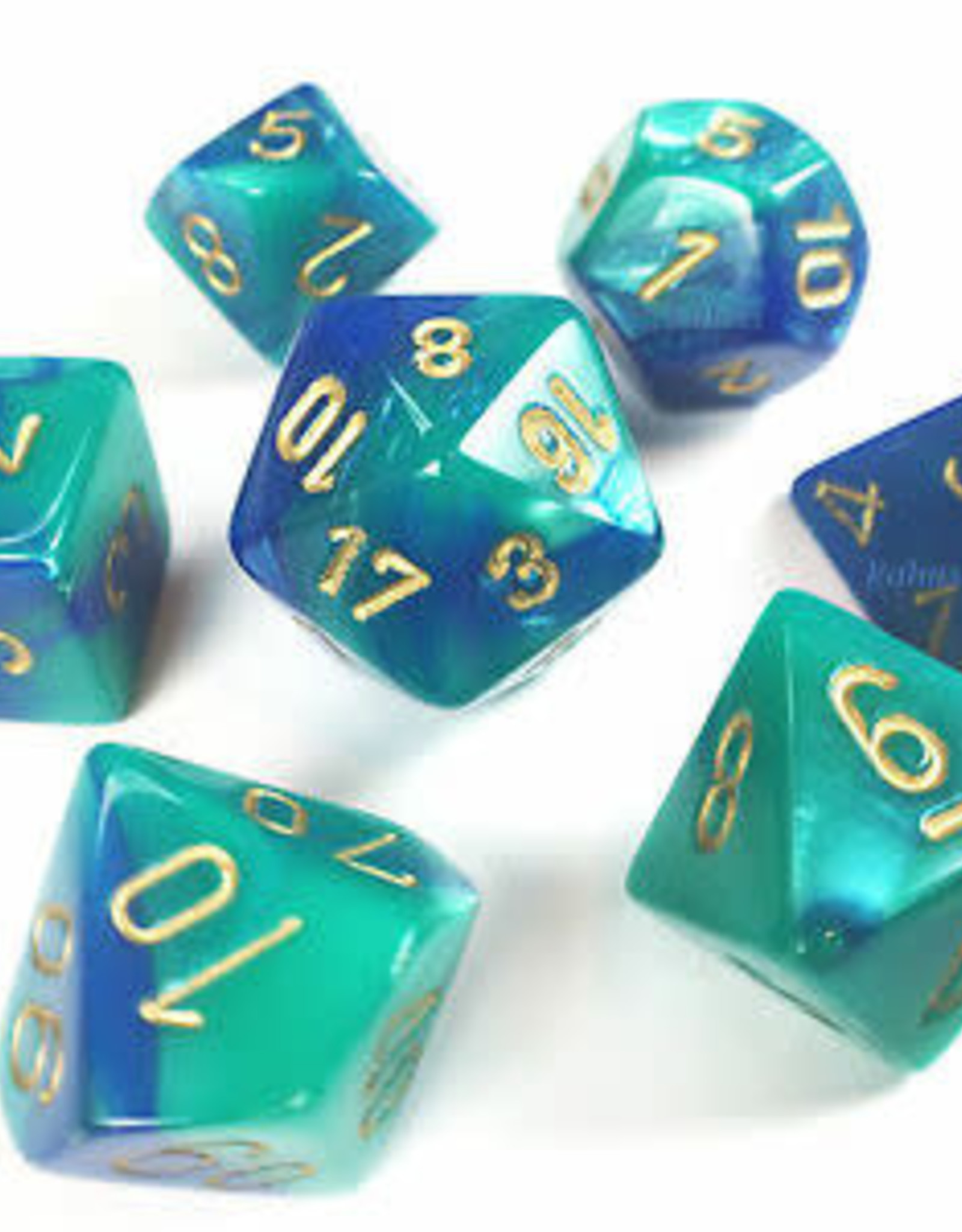 Chessex Blue-Teal/gold Gemini Poly 7 dice set