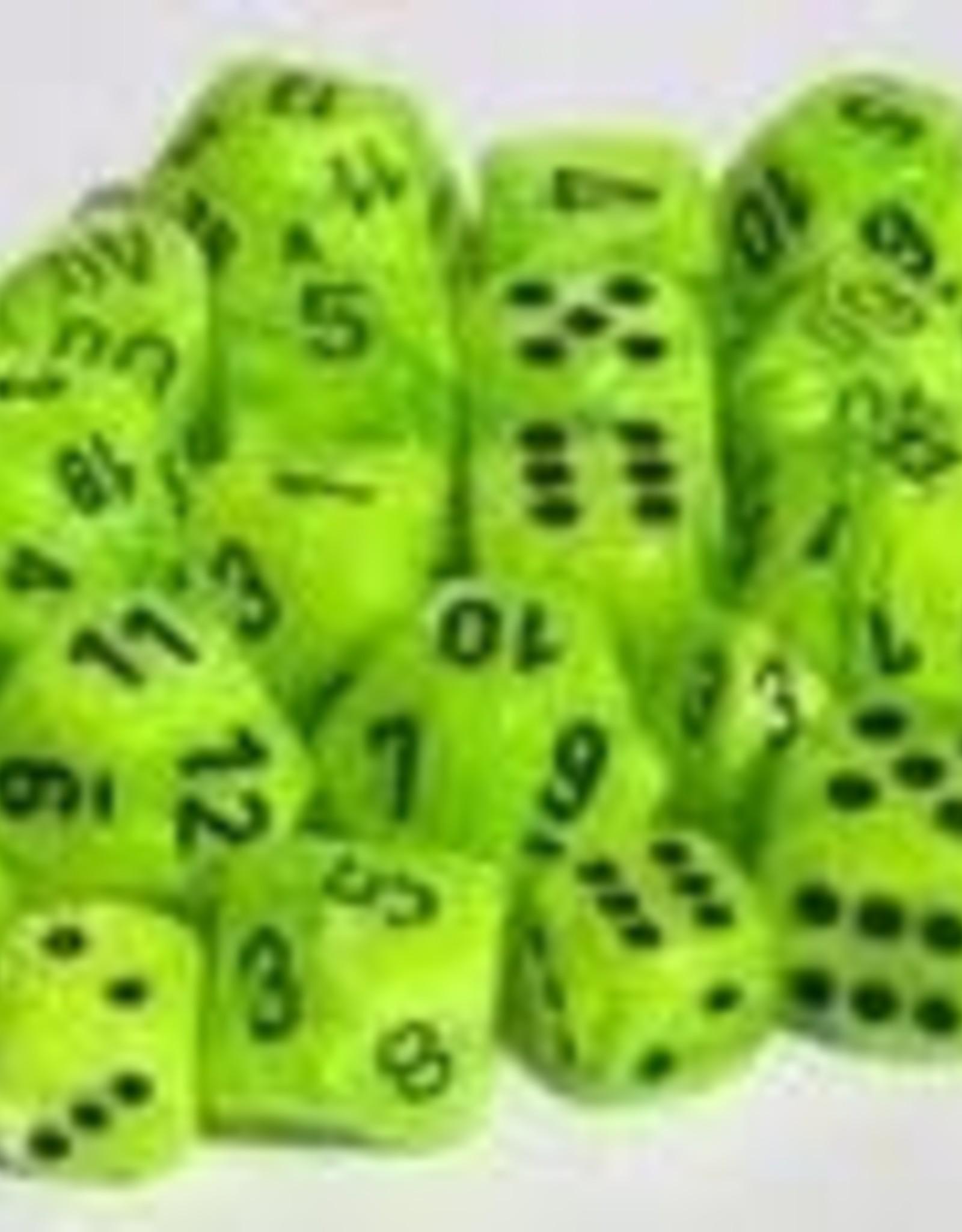 Chessex Bright Green w/black Vortex 12mm d6 dice set