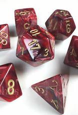 Chessex Burgandy w/gold Vortex Poly 7 dice set