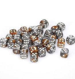Chessex Copper-Steel w/white Gemini 12mm d6 dice set
