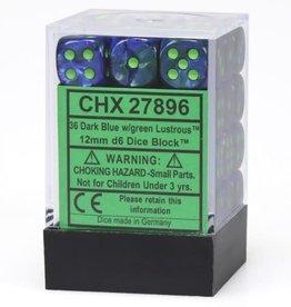 Chessex Dark Blue w/green Lustrous 12mm d6 dice set