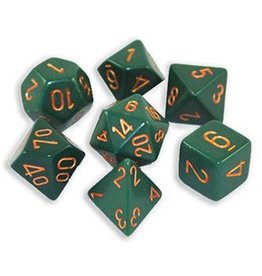 Chessex Dusty Green w/gold Opaque Poly 7 dice set