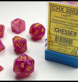 Chessex Fuschia/yellow Leaf Poly 7 dice set