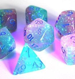 Chessex Gel Green-Pink/blue Gemini Poly 7 dice set