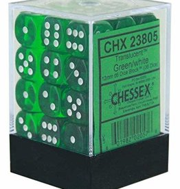 Chessex Green w/white Translucent 12mm d6 dice set